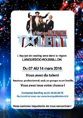 BAU agenda Casting La France à un incroyable talent Mars 2016